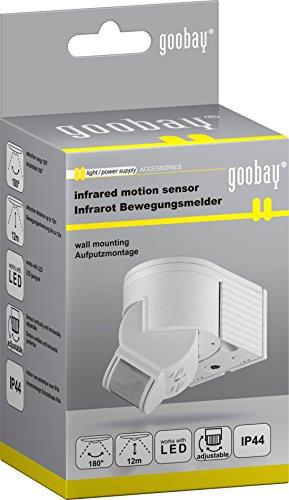 goobay Infrarot Aufputz-Bewegungsmelder für Innen- und Außenbereich - 180° Arbeitsfeld - Reichweite bis 12m - Dreh-/Neigbarer Erfassungsbereich - IP44 Schutzklasse - Spritzwasser geschützt - Weiß4