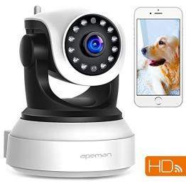 APEMAN 720P Wlan IP Kamera WIFI Überwachungskamera mit Nachtsicht Bewegungserkennung 2 Wege Audio Smart Home Kamera Unterstützung 128GB Mikro-SD Karte 1