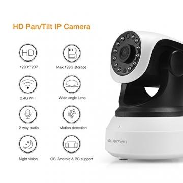 APEMAN 720P Wlan IP Kamera WIFI Überwachungskamera mit Nachtsicht Bewegungserkennung 2 Wege Audio Smart Home Kamera Unterstützung 128GB Mikro-SD Karte 7