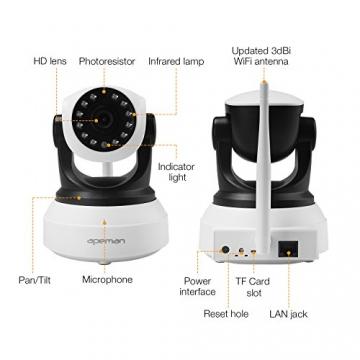 APEMAN 720P Wlan IP Kamera WIFI Überwachungskamera mit Nachtsicht Bewegungserkennung 2 Wege Audio Smart Home Kamera Unterstützung 128GB Mikro-SD Karte 8